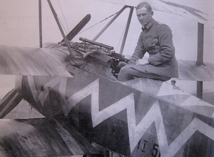 Leutnant Hans Korner scored once in his zig-zag marked Jasta 19 triplane on the last day of March, 1918.JPG